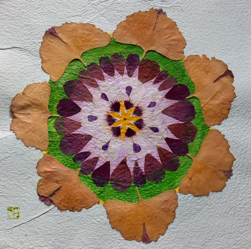 Mandala- création végétal-papier artisanale-Ginko Bilobab