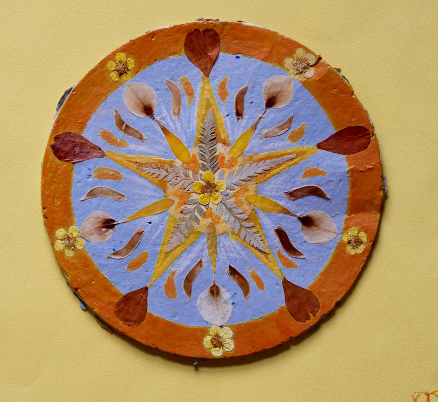 mandala- création végétale-tempera- papier artisanal