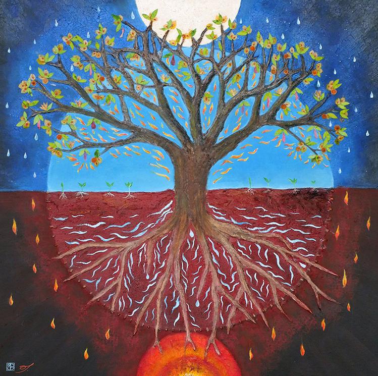 arbre peinture- mandala- enracinement- alignement